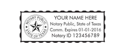 Texas Notary Stamps customized with Notary's Info. Fast Shipping