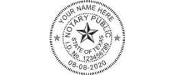 Texas Notary Seal Stamps customized with Notary's Info. Fast Shipping