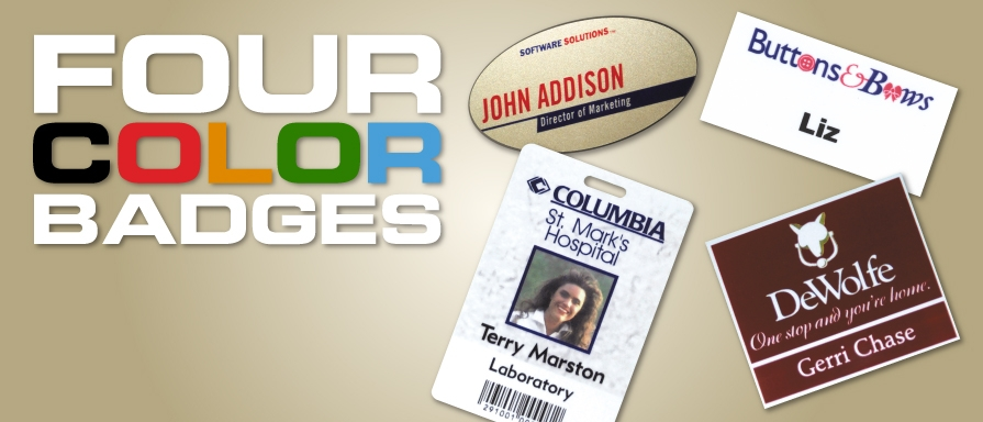 Advertise your business with our full color logo name badge, full color name tag with a magnetic back.
