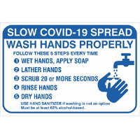 BA-CV1003 - CV-1003 Covid-19<BR>Wash Hands Wall Sign