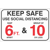 BA-CV1004 - CV-1004 Covid-19<BR>Social Distancing<BR>Wall Sign