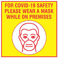 BA-CV1008D - CV-1008D Covid 19<BR>Please Wear A Mask<BR><B>Window Decal