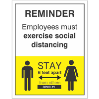 BA-CV1009 - CV-1009 Covid-19<BR>Employee Reminder<BR>Wall Sign