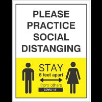BA-CV1010 - CV-1010 Covid-19<BR>Practice Social Dist. Sign