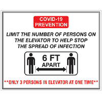 BA-CV1018 - CV-1018 Covid-19<BR>Elevator Limit<BR>Wall Sign