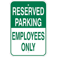 Reserved Parking Sign for Employees Only