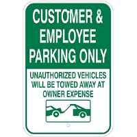 Aluminum Customer & Employees Parking Only Sign
