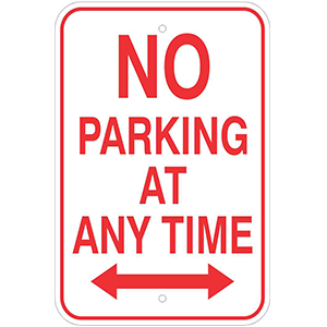 "Aluminum 12""x 18"" No Parking Anytime Sign"