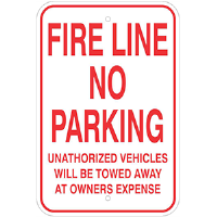 "Aluminum 12""x 18"" Fire Lane No Parking Sign"