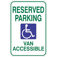 "12""x 18"" Reserved Parking, Handicap Van Accessible Sign"