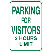 "12""x 18"" Aluminum PARKING FOR VISITORS - 2 hour limit"