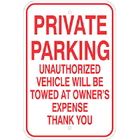 "12""x 18"" Aluminum PRIVATE PARKING SIGN"